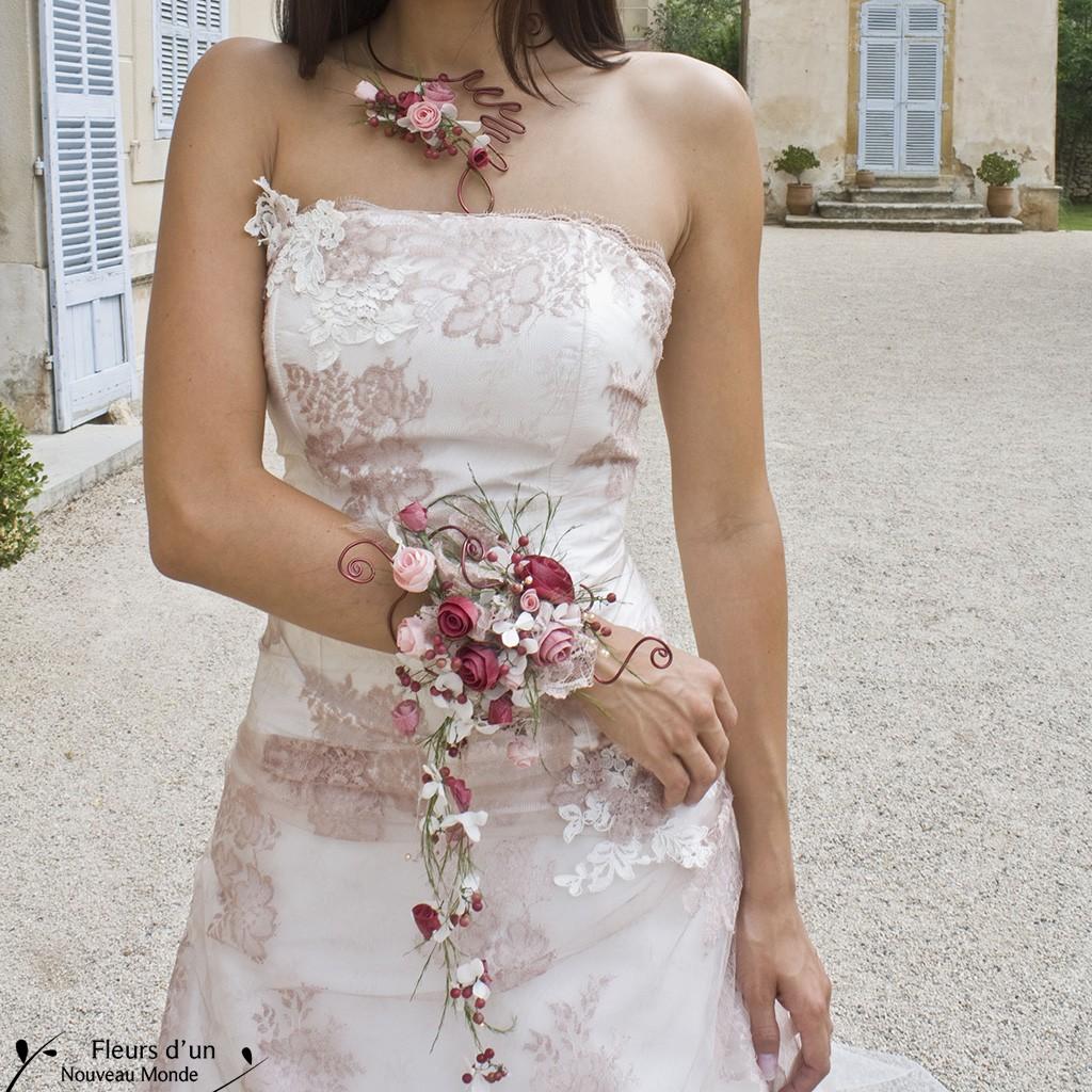 bouquet bracelet glamour - Fleurs Lyophilises Mariage